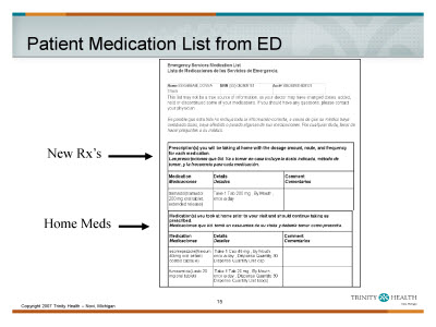 Slide 15. Patient Medication List from ED