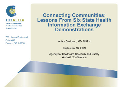Slide 1. Connecting Communities: Lessons From Six State Health Information Exchange Demonstrations