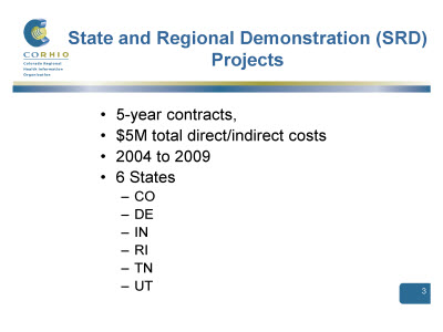Slide 3. State and Regional Demonstration (SRD) Projects