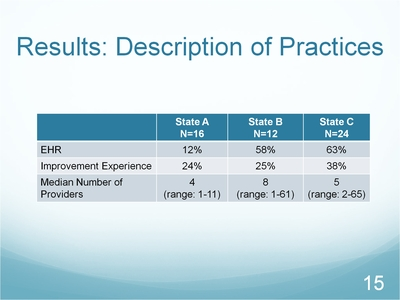 Slide 15. Results: Description of Practices