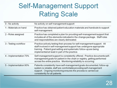 Slide 28. Self-Management Support Rating Scale