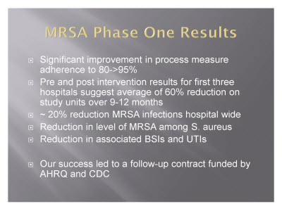 Slide 14. MRSA Phase One Results