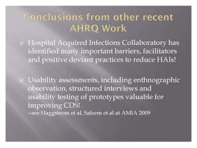 Slide 22. Conclusions from other recent AHRQ Work