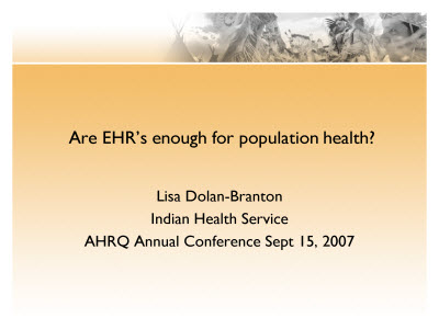 Slide 1. Are EHR's enough for population health?