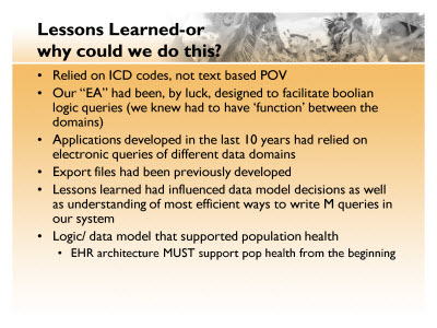 Slide 19. Lessons Learned - or why could we do this?