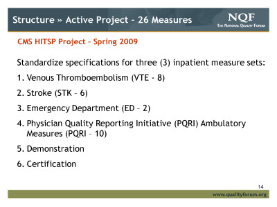 Slide 14. Structure » Active Project - 26 Measures
