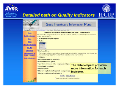 Slide 10. Detailed path on Quality Indicators