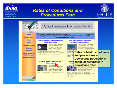 Slide 16. Rates of Conditions and Procedures Path