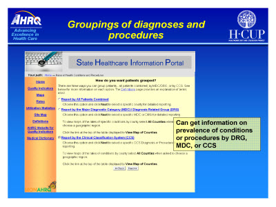 Slide 17. Groupings of diagnoses and procedures