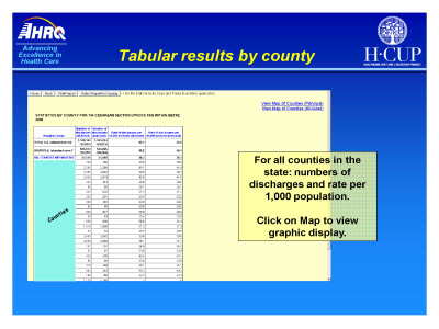 Slide 19. Tabular results by county