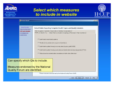 Slide 37. Select which measures to include in website