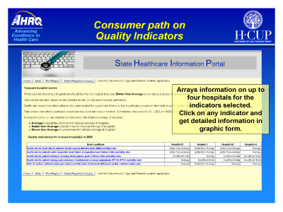 Slide 8. Consumer path on Quality Indicators
