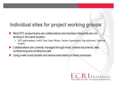 Slide 7. Individual sites for project working groups