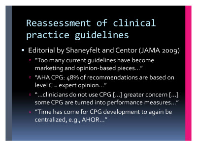 Slide  5. Reassessment of clinical practice guidelines