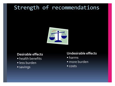 Slide  56. Strength of recommendations