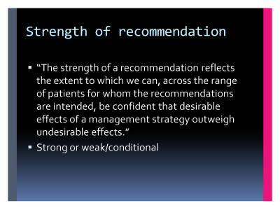 Slide  58. Strength of recommendation