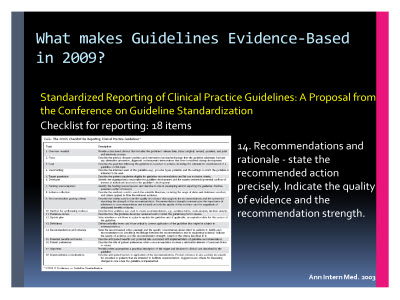 Slide  60. What makes Guidelines Evidence-Based in 2009?