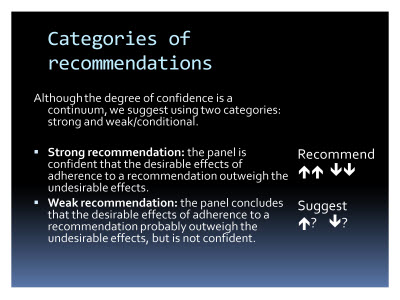 Slide  71. Categories of recommendations