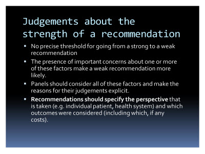 Slide  77. Judgements about the strength of a recommendation