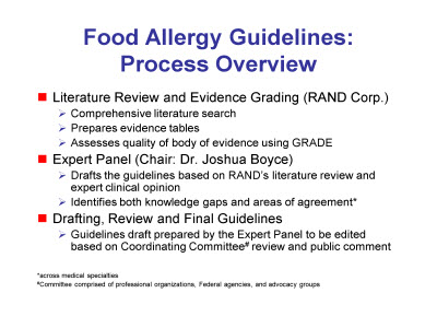 Slide 3. Food Allergy Guidelines: Process Overview
