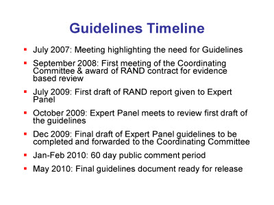 Slide 4. Guidelines Timeline