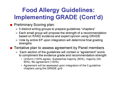 Slide 6. Food Allergy Guidelines: Implementing GRADE (Cont'd)