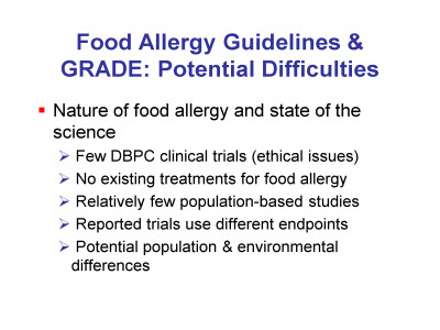 Slide 7. Food Allergy Guidelines and GRADE: Potential Difficulties
