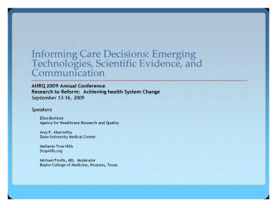 Slide 1. Informing Care Decisions: Eme