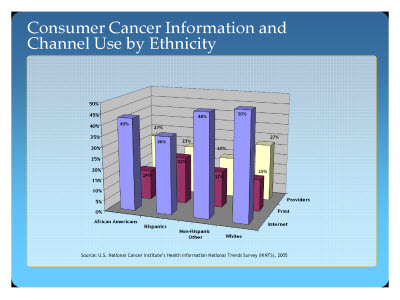 Slide 15. Consumer Cancer Information and Channel Use by Ethnicity