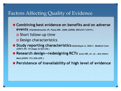 Slide 20. Factors Affecting Quality of Evidence
