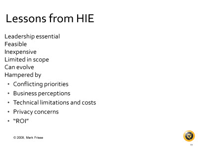 Slide 19. Lessons from HIE