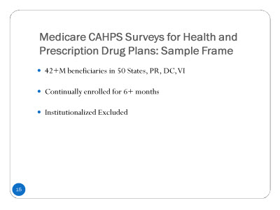 Slide 15. Medicare CAHPS®Surveys for Health and Prescription Drug Plans: Sample Frame
