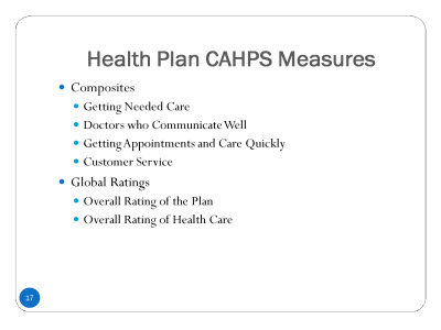 Slide 17. Health Plan CAHPS®Measures