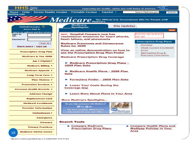 Slide 19. Screenshot of the home page of www.mediCaregov