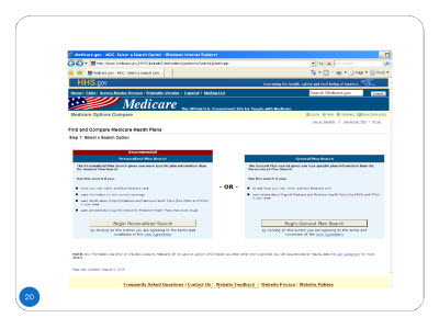 Slide 20. Screenshot of the home page of www.mediCaregov. - Compare Health Plans in Your Area section