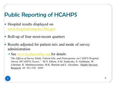 Slide 6. Public Reporting of HCAHPS