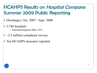 Slide 7. HCAHPS®Results on Hospital Compare: Summer 2009 Public Reporting