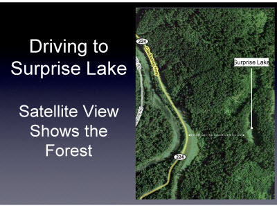 Slide 21. Driving to Surprise Lake Satellite View Shows the  Forest