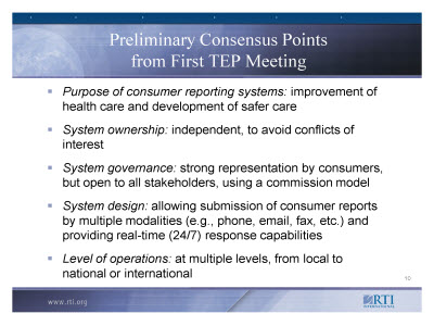 Slide 10. Preliminary Consensus Points from First TEP Meeting