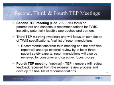 Slide 11. Second, Third, and Fourth TEP Meetings
