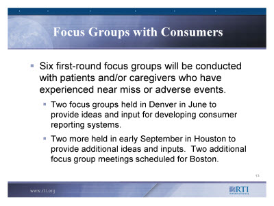 Slide 13. Focus Groups with Consumers