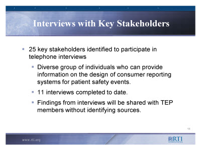 Slide 15. Interviews with Key Stakeholders