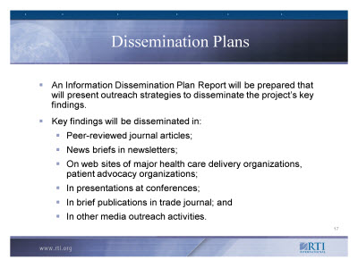 Slide 17. Dissemination Plans