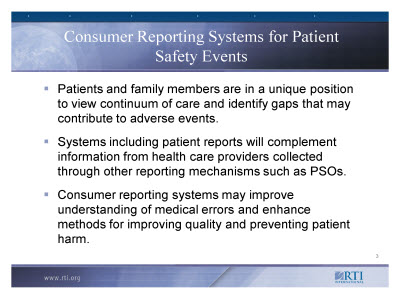 Slide 3. Consumer Reporting Systems for Patient Safety Events