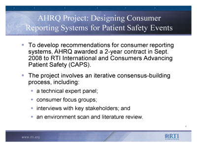 Slide 4. AHRQ Project: Designing Consumer Reporting Systems for Patient Safety Events