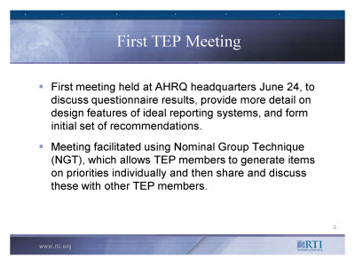 Slide 9. First TEP Meeting