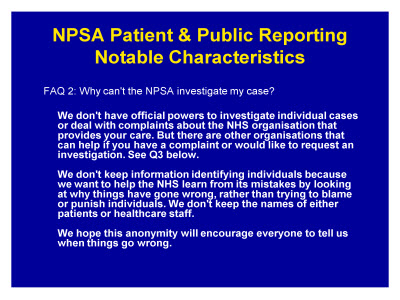 Slide 10. NPSA Patient and Public Reporting Notable Characteristics
