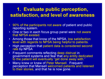 Slide 12. 1. Evaluate public perception, satisfaction, and level of awareness