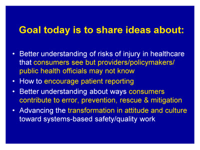 Slide 2. Goal today is to share ideas about: