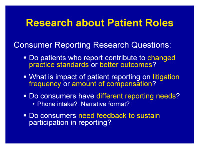 Slide 20. Research about Patient Roles
